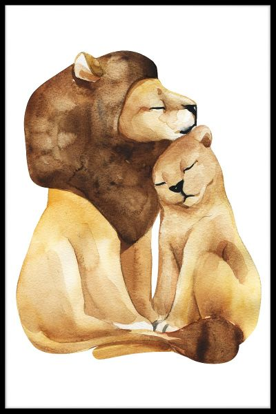 Lion Love Watercolor Plakat
