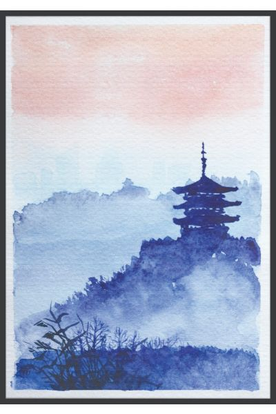 Watercolor Japanese Temple Forest Plakat