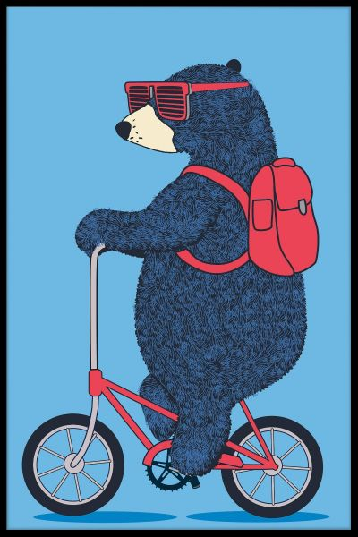 Bear On Bicycle Plakat