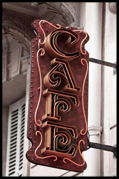 Cafe Sign Paris Plakat