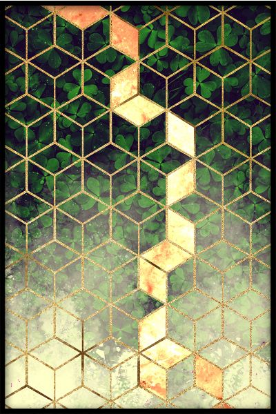 Abstract Leaf Cubes Plakat