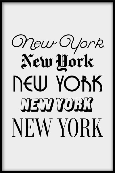 New York Typography Plakat