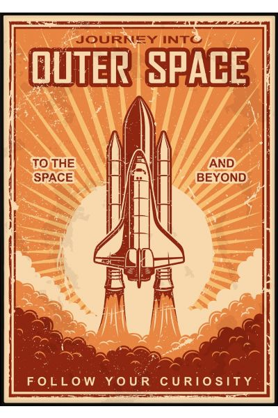 Outer Space Vintage Plakat