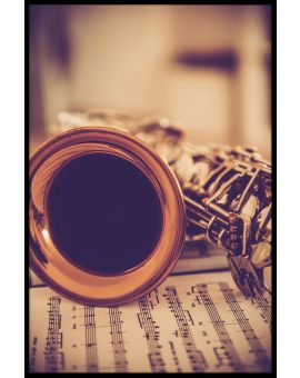 Saxophone and Notes Vintage Plakat