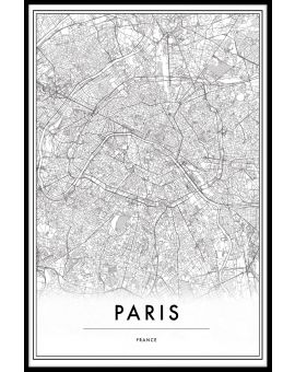 Paris France Map Plakat