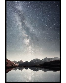 Starry Sky Over Lake Plakat