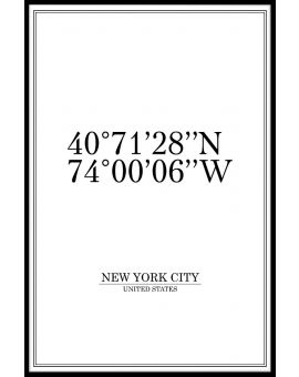 New York City Coordinates Plakat