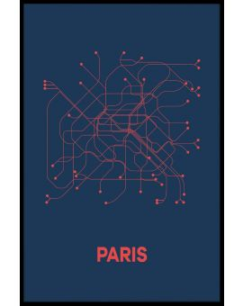 Paris Metro Map Plakat