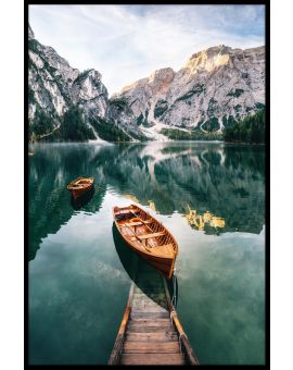 Dolomites Lake Wooden Boats Plakat