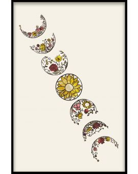Moon Flower Phases Plakat